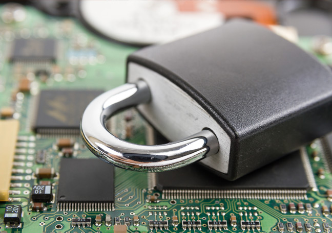 padlock on computer motherboard depicting data security