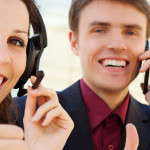 Male-customer-female-call-center-agent--thumbs-up--Open-Access-BPO-