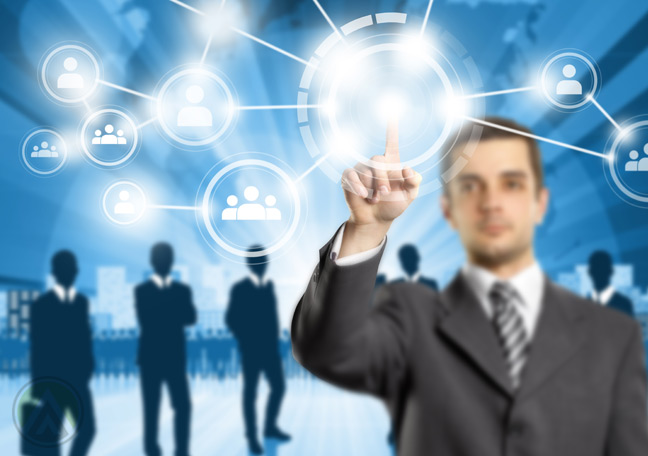 business-using-virtual-touch-screen-with-business-partners-in-the-back