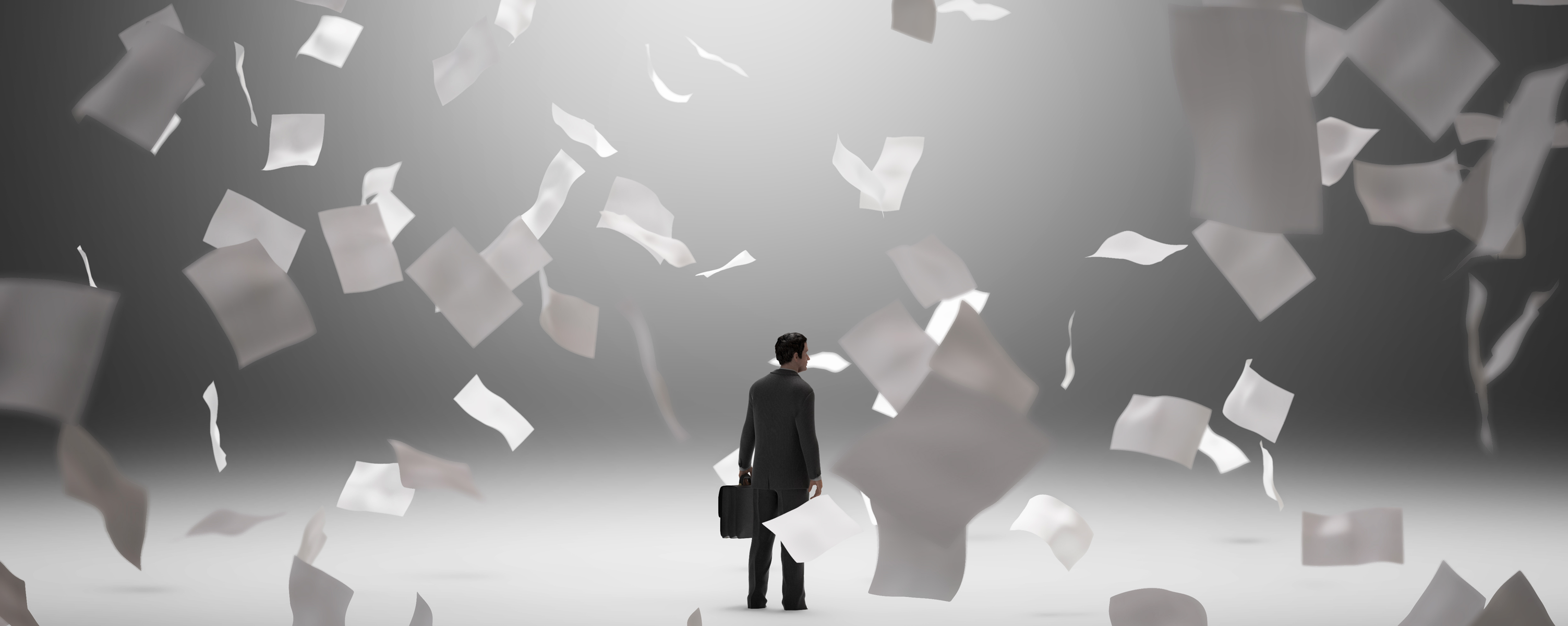 businessman carrying briefcase in empty room surrounded by falling paper- Open Access BPO