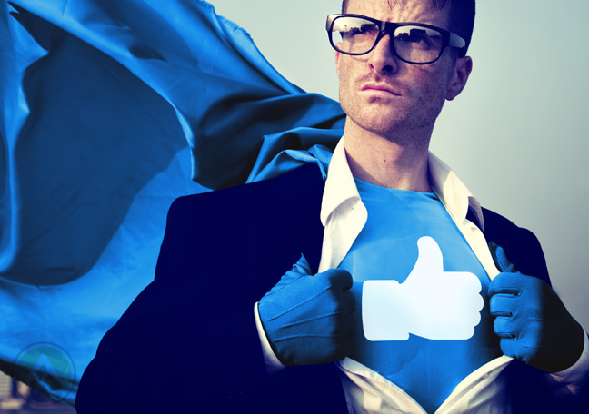superhero-in-cape-glasses-with-Facebook-Like-logo-on-chest