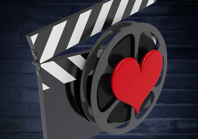 chalk-movie-production-clapper-with-heart-in-blue-brick-background