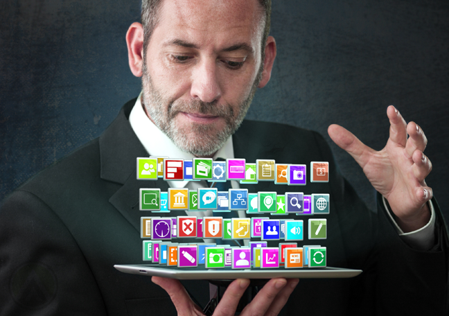 mature-businessman-holding-tablet-with-social-media-icons-spilling-out
