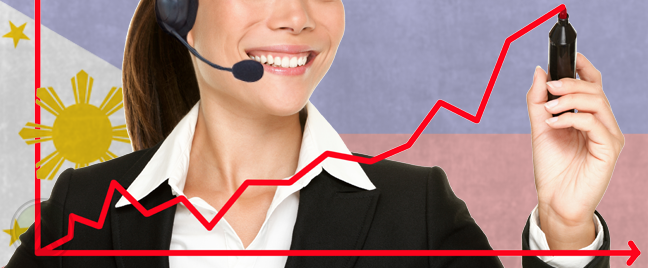 female-call-center-agent-smiling-widely-while-drawing-a-rising-arrow-in-a-business-chart-with-philippine-flag-backdrop