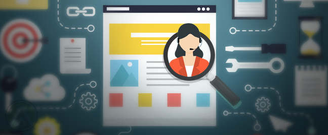 seo-graphic-design-magnifying-lens-on-monitor-showing-female-customer-service-call-center-representative