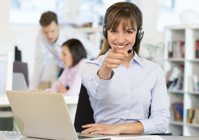 pointing-call-center-agent-sitting-with-customer-service-laptop