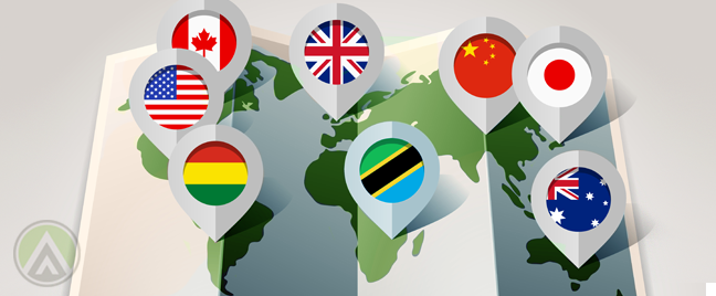international-national-flags-location-service-pointing-to-world-map
