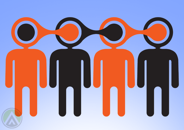 orange-black-stick-figures-connected-by-the-head-depicting-word-of-mouth-marketing