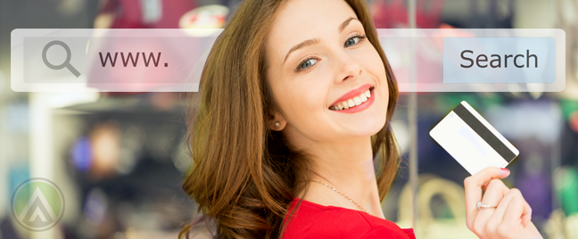 woman-in-red-waving-credit-card-with-search-box-in-back-depicting-online-shopping-ecommerce