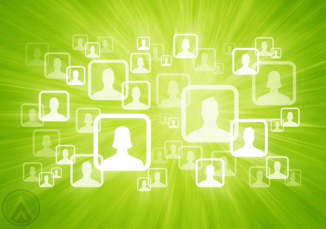human-figures-social-media-user-icons-on-apple-green-background