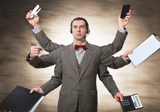 call-center-agent-with-bowtie-multitasking-many-arms