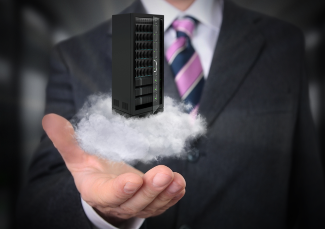 businessman holding server storage on cloud