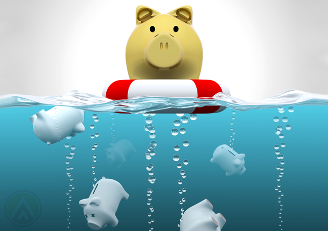 golden-piggybank-floating-on-ocean-dead-blue-piggybanks-sinking
