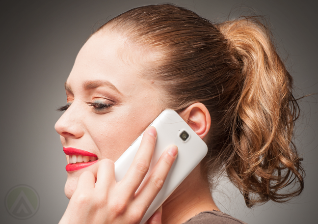close up woman talking on smartphone