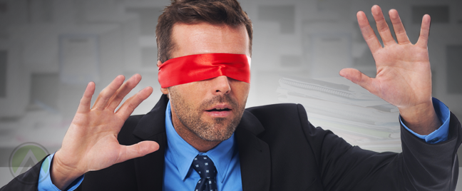 businessman in red blindfolds hands up