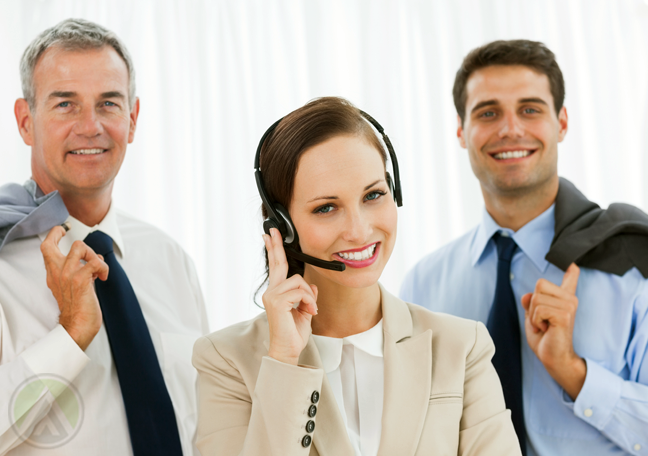 customer service agent with call center executives