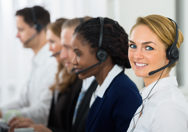 diverse call center team at work receiving customer service calls