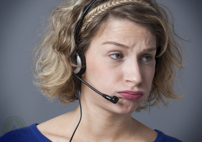 frustrated call center agent