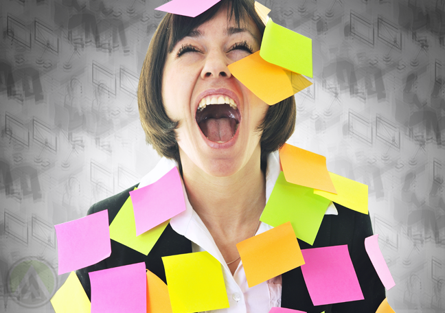 screaming businesswoman covered in post it notes