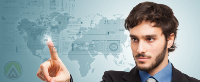 business man in international banking pointing to world map