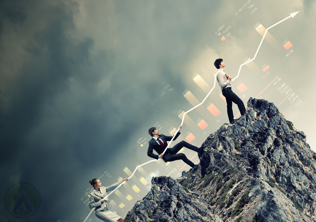 business people climbing up a steep cliff dark storm clouds in background