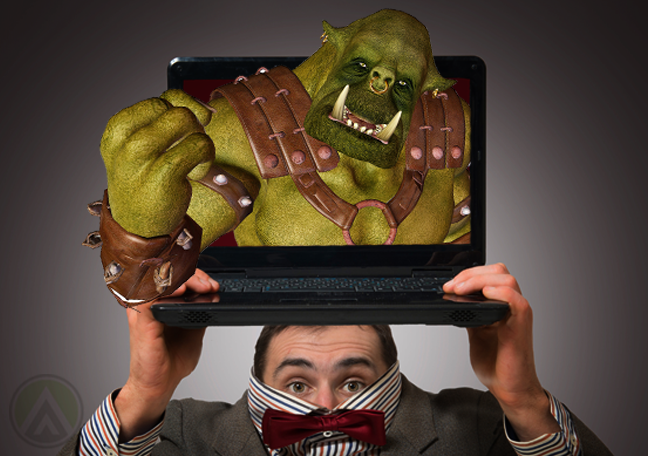 businessman bow tie hiding carrying laptop with angry troll