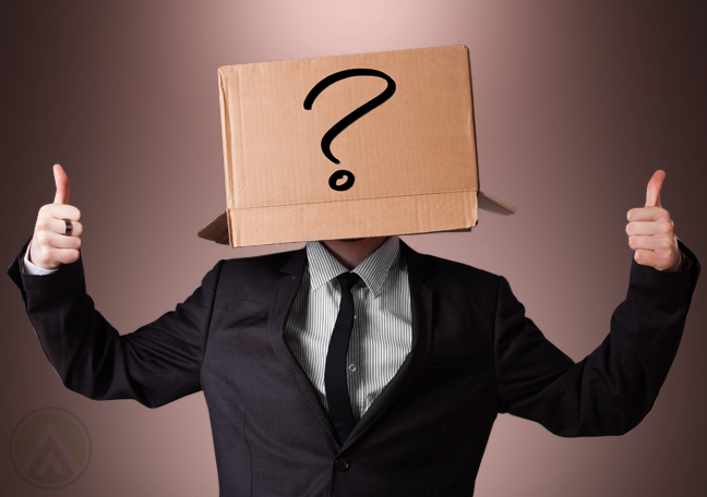 businessman with box on head with question mark