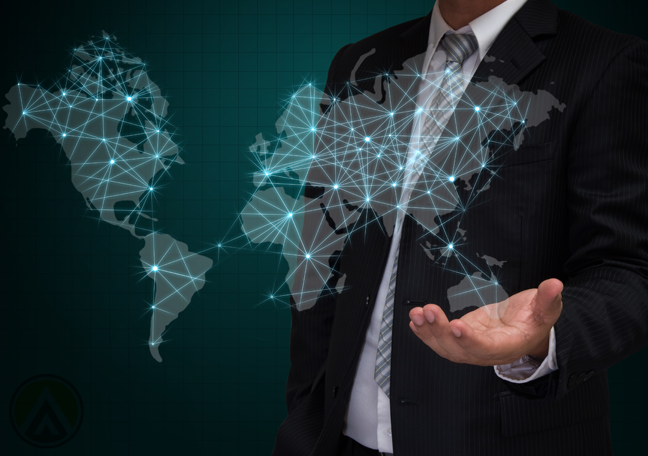 businessman with virtual world map