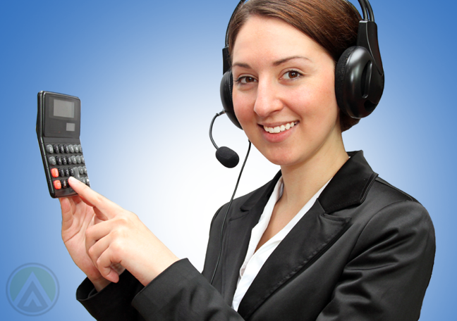 call center agent holding pointing to table calculator