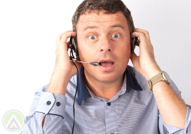 customer support agent with awkard facial expression