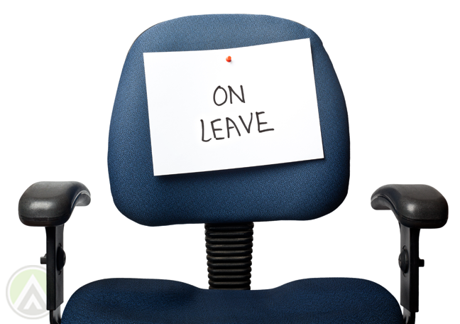 empty office chair paper note On Leave