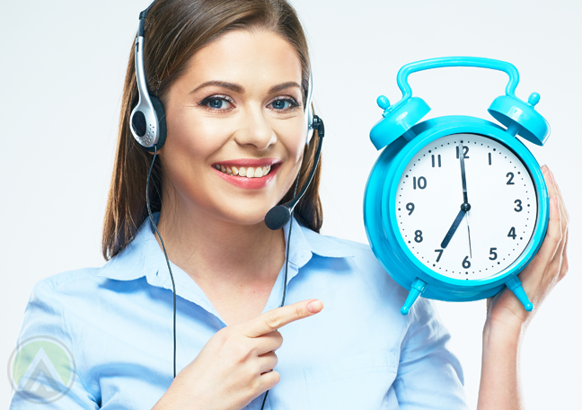 smiling call center agent holding clock
