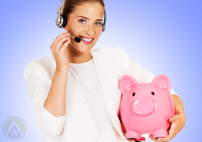smiling call center representative carrying pink piggybank