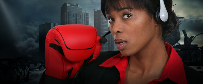 young call center agent wearing boxing gloves post apocalyptic city in back