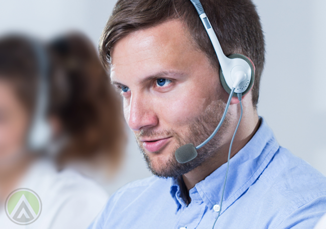 call center worker talking to customer on call