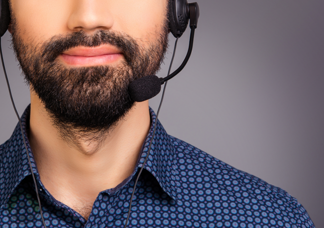 close up bearded call center agent