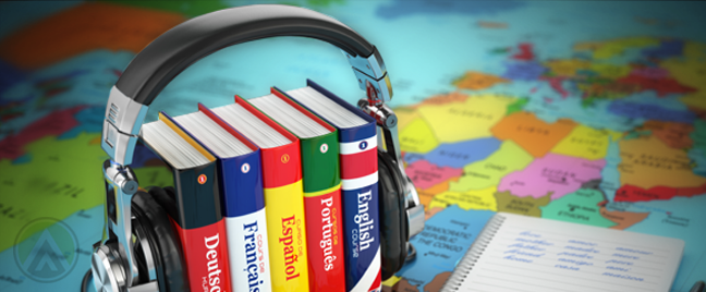 international dictionaries kept together by headphones over world map