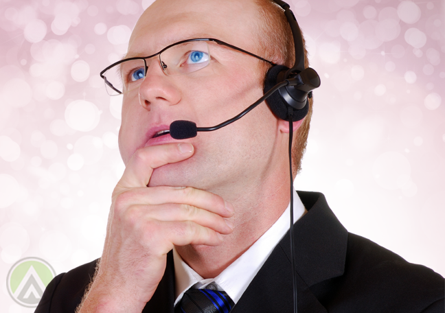 middle aged male call center agent thinking making decision