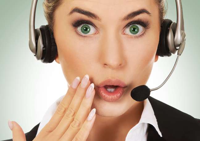 surprised call center worker