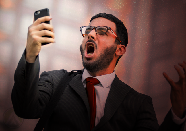 angry businessman shouting at smartphone