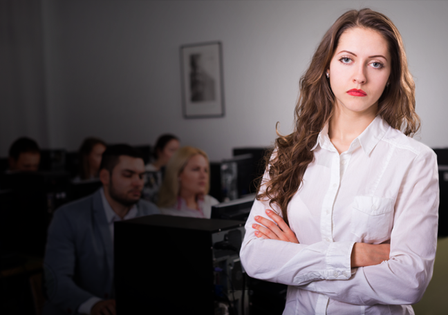 boss looking bored ignoring business team