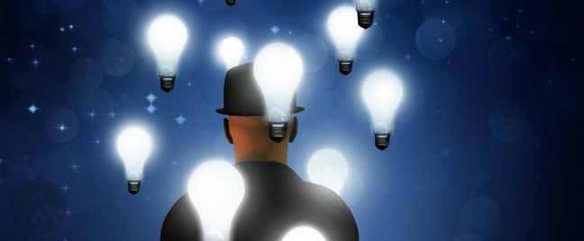 businessman back turned floating light bulbs