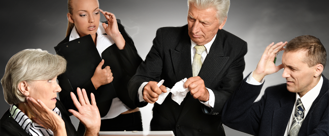 businessman ripping apart paper business team panic