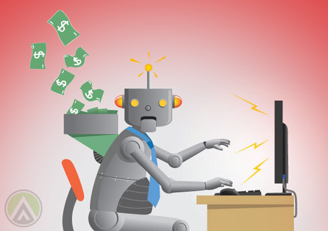 robot using computer funneling money