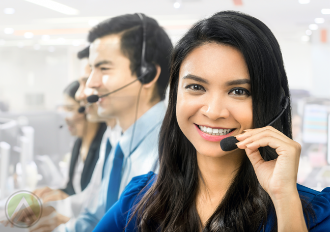 smiling female customer service agent call center coworkers