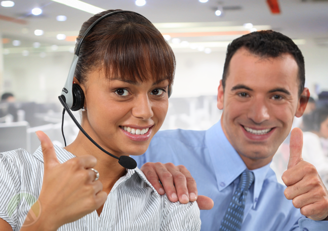 customer service rep with call center team leader giving thumbs up