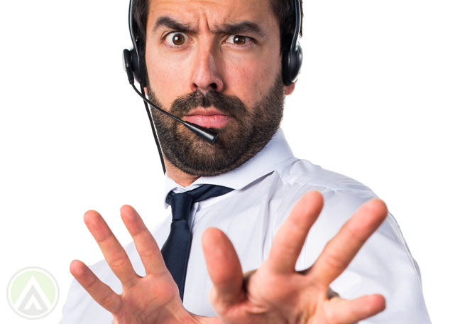 unsure call center agent looking confused