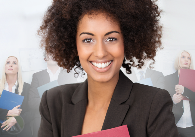 confident woman with other job applicants