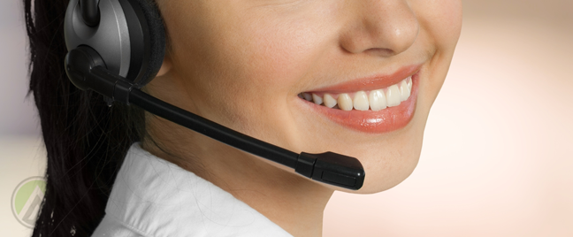 close up smiling lips female call center rep