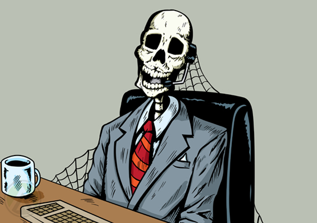 dead customer service rep in call center skeleton cobwebs